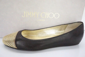 Jimmy Choo Waine Black Leather Gold Studded Cap Toe Ballet Flats SZ 35 NIB $565