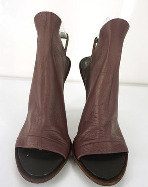 Balenciaga Burgundy Glove Slingback Open Toe Slide Sandals size 41 11 New $735