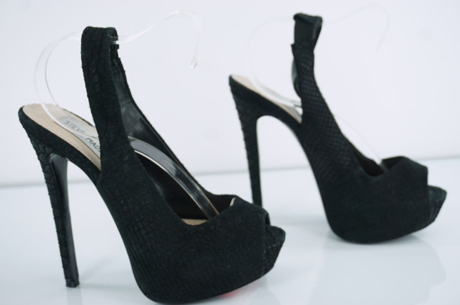 Steve Madden Adin Black Textured Suede Peep Toe Platform Pumps Size 6.5 New $100
