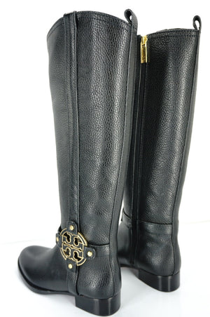 Tory Burch Logo Buckle Amanda Tall Leather Riding Knee High Boots SZ 5 New $495