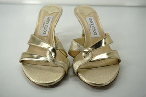 Jimmy Choo Tation Metallic Gold Leather Mid Heel Slide Sandals SZ 36.5 New $675