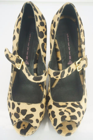Steve Madden Leopard Hair Knockout Mary Jane Pump Size 8 New Wedge Open Toe$200