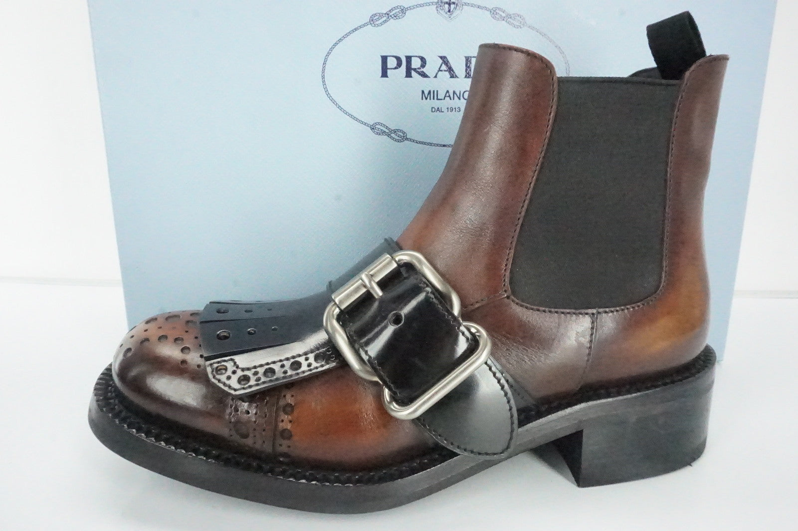 Prada Brown Leather Buckle Kiltie Chelsea Ankle Boots SZ 35 Combat NIB $1250