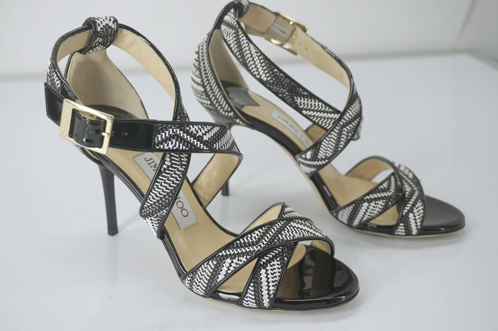 Jimmy Choo Louise Chevron Striped Ankle Strappy Sandals SZ 35.5 New Heels $750