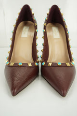 Valentino Brown Leather Rockstud Rolling Pointy Pumps Size 40 10 Heels NIB $1045