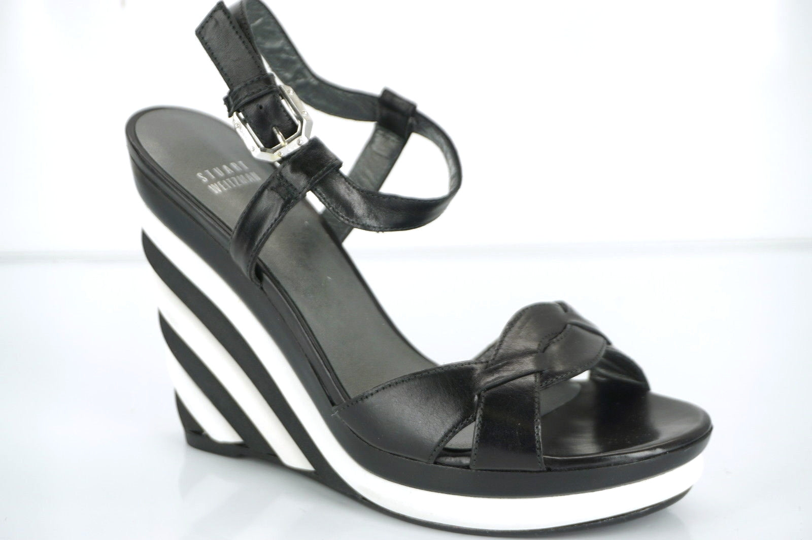 Stuart Weitzman Attitude Black White Striped Wedge Ankle Sandals Size 8 New $425