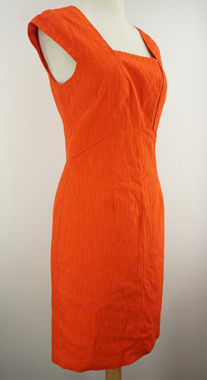 Adrianna Papell Seamed Sheath Dress Size 2 Women's $99 Cap Sleeve Coral