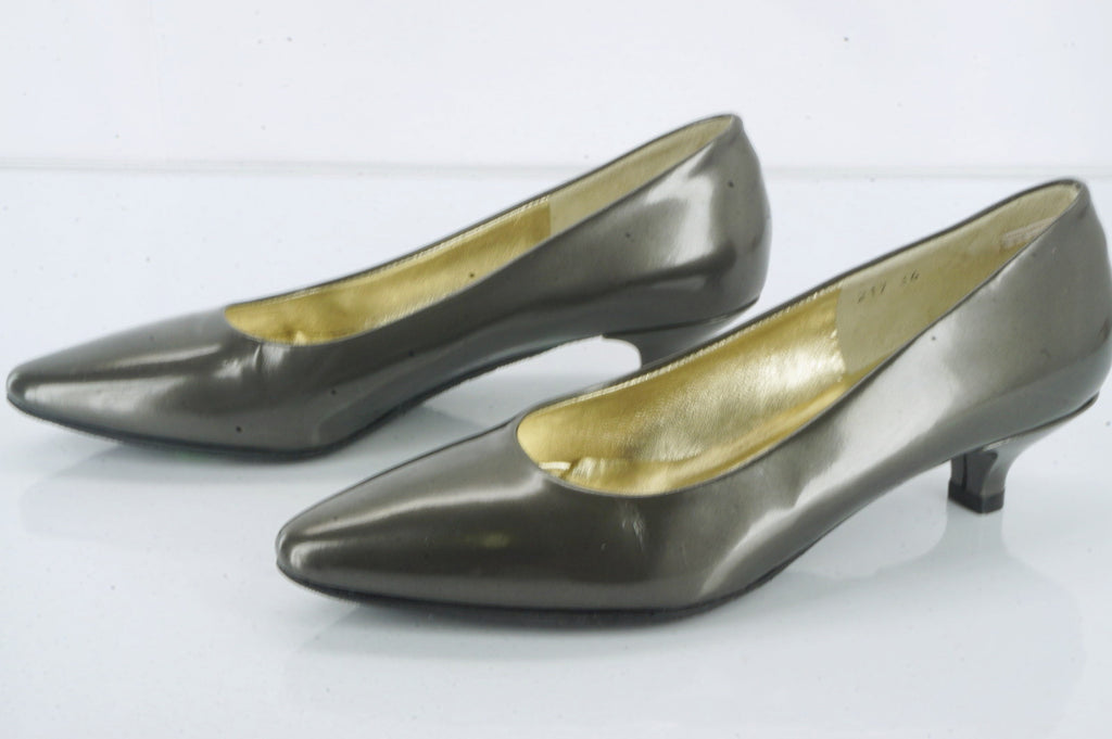 Ron White Grey Patent Michelle Kitten Pumps Size 36 Italian Pointy Toe New $395