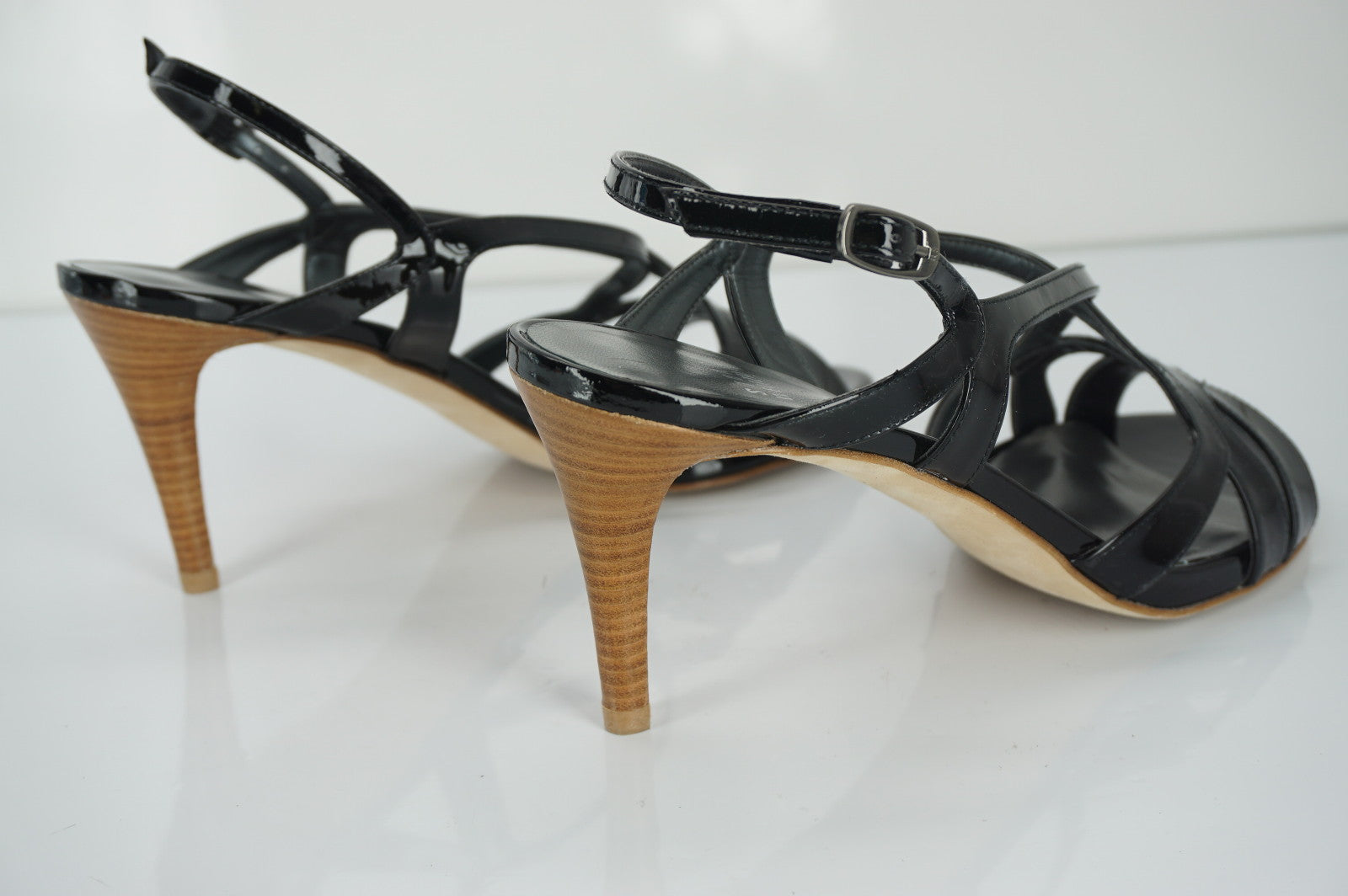 Stuart Weitzman Black Patent Leather Operetta Strappy Sandals Size 8 NIB $375 Sz