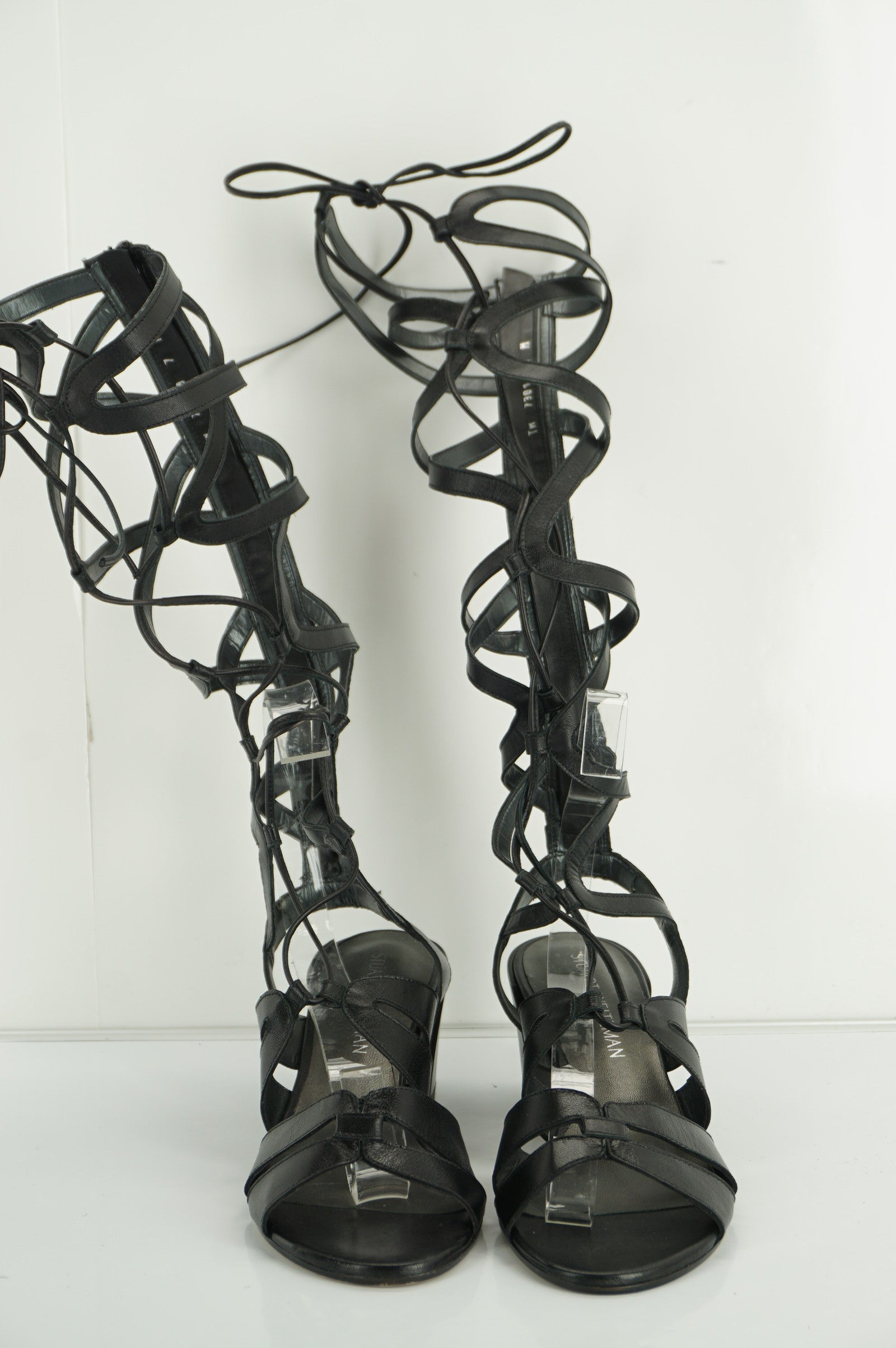 Stuart Weitzman Black Grecian Gladiator Sandals SZ 7 Strappy Knee High $300 New