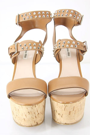 Miu Miu Brown Leather Studded Platform Wedge Sandals SZ 41.5 11.5 New $790 Prada
