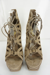 SAINT LAURENT Tribute Lace-Up Platform Sandals SZ 41 11 Taupe Suede YSL $995 NIB