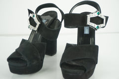 Prada Black Suede Jeweled Buckle Criss Cross Platform Sandals SZ 39.5 NIB $990