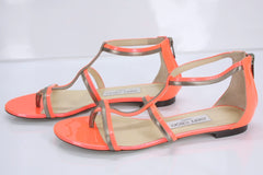 Jimmy Choo Tabitha T Strap Stiped Caged Sandals SZ 37.5 Flat Thong New $795