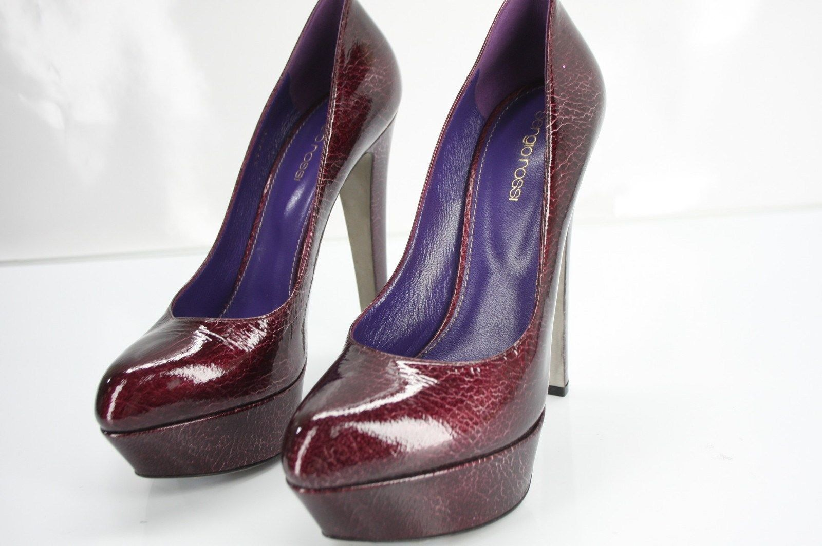 Sergio Rossi Patent Leather Miladys Platform Heel Pumps size 39 New $895 Women's