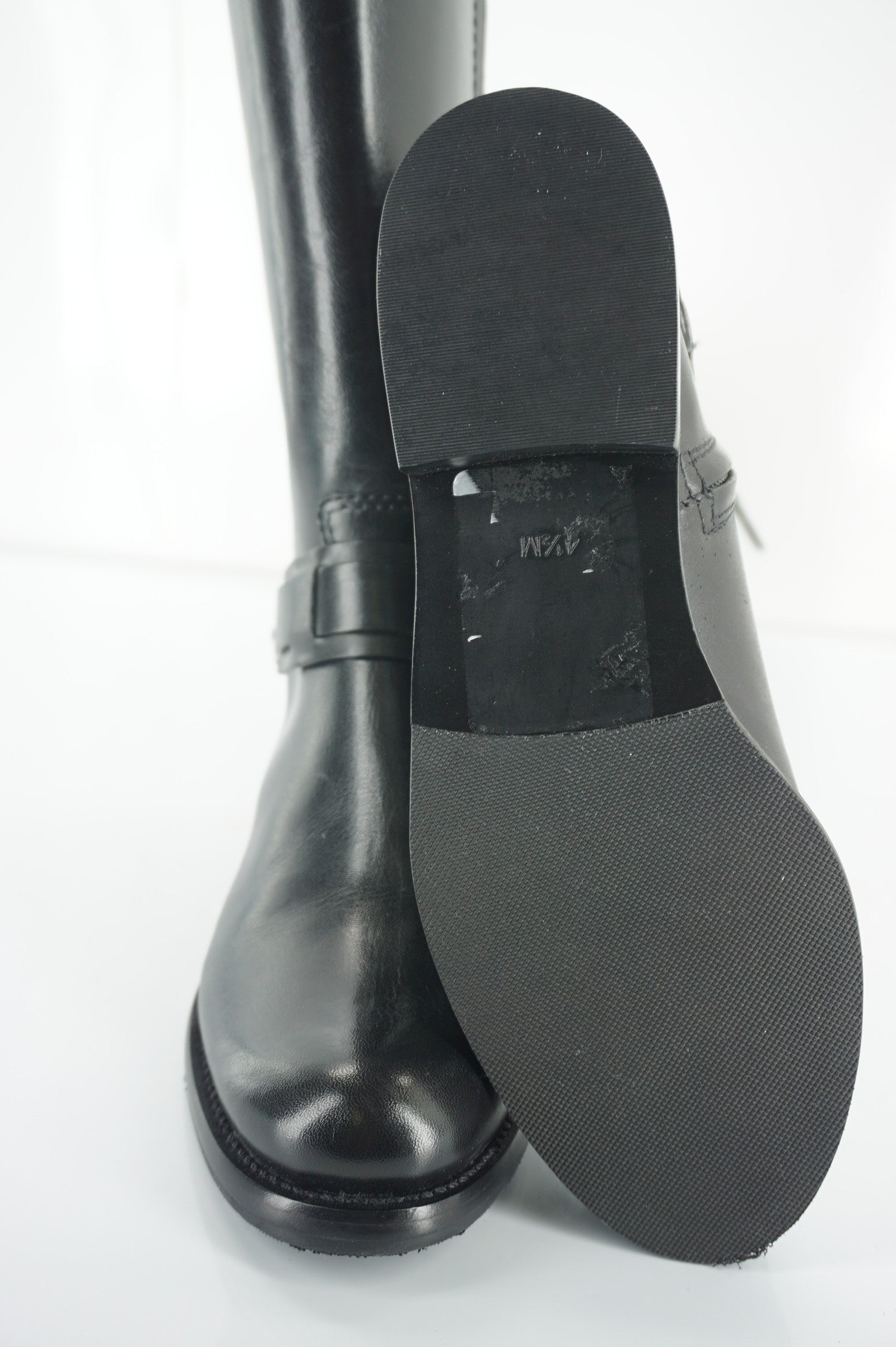 Tory Burch Derby Black Leather Riding Boot Size 4.5 Tall Knee Logo Heel NIB $495