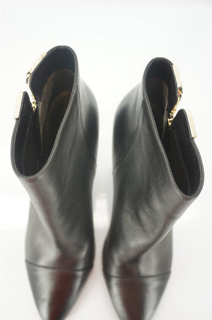 Lanvin Black Leather Pointy Toe Gold Trim High Heels Ankle Boots SZ 39 New $890