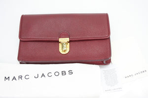 Marc Jacobs Leather Venetia Push Lock Front Clutch Bag $495 New Small Purse