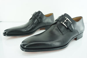 Magnanni Marco Black Leather Monk Strap Loafers SZ 13 slip on buckle NIB