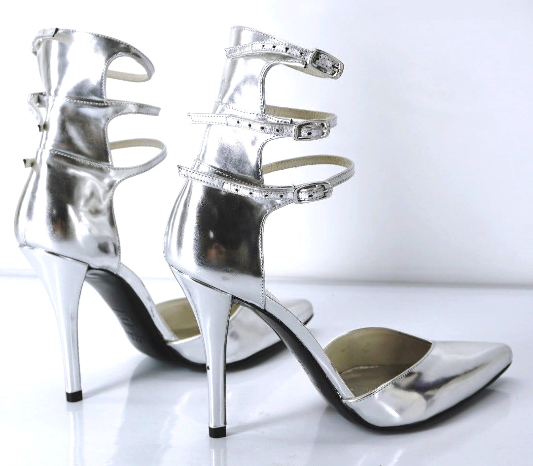 Stuart Weitzman Privacy Silver Pointy Toe Multi Ankle Strap Pumps Size 6.5 Wide