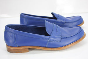 Prada Blue Leather Slip On Penny Loafer Shoes Size 39.5 Women's $650 New logo Sz