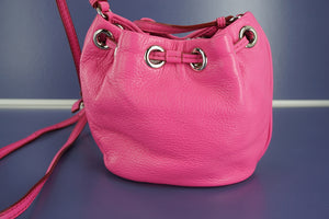Marc Jacobs Pink Leather Too Hot to Handle Mini Drawstring Crossbody Bag New by