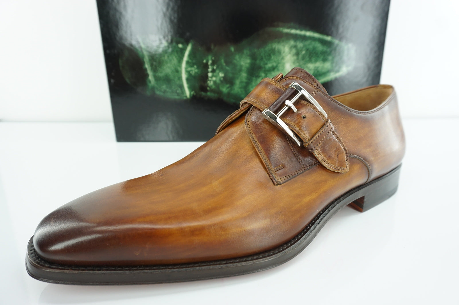 Magnanni Marco Brown Leather Monk Strap Loafers SZ 8 slip on buckle NIB