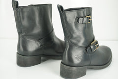 Tory Burch Bennie Black Leather Biker Ankle Boots size 9.5 New Buckle $395