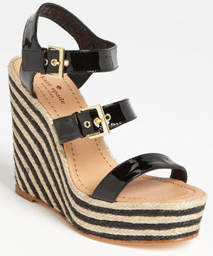 kate spade Black Patent Lucie Striped Platform Wedge Sandals Size 9.5 NIB $278