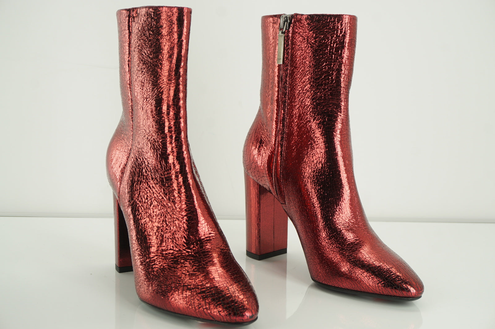 SAINT LAURENT Babies Red Metallic Ankle Boots Size 36.5 NIB YSL $1095 90MM