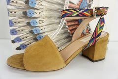 Valentino Chevron Block Heel Ankle Wrap Sandals SZ 38 Tan Suede $795 NIB