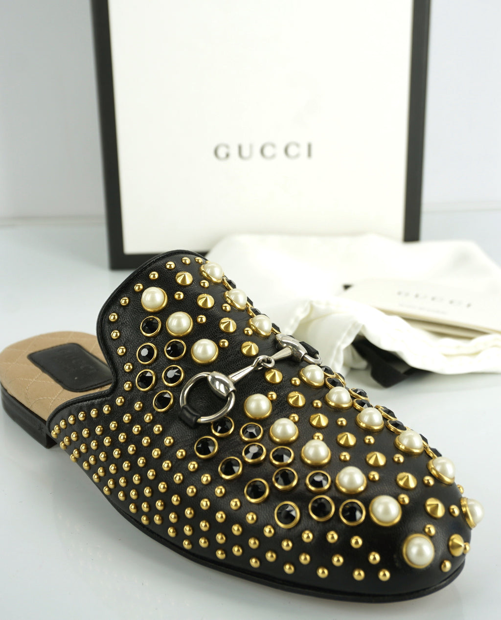 Gucci Womens Princetown Pearl Mule Flats Black Leather Size 35