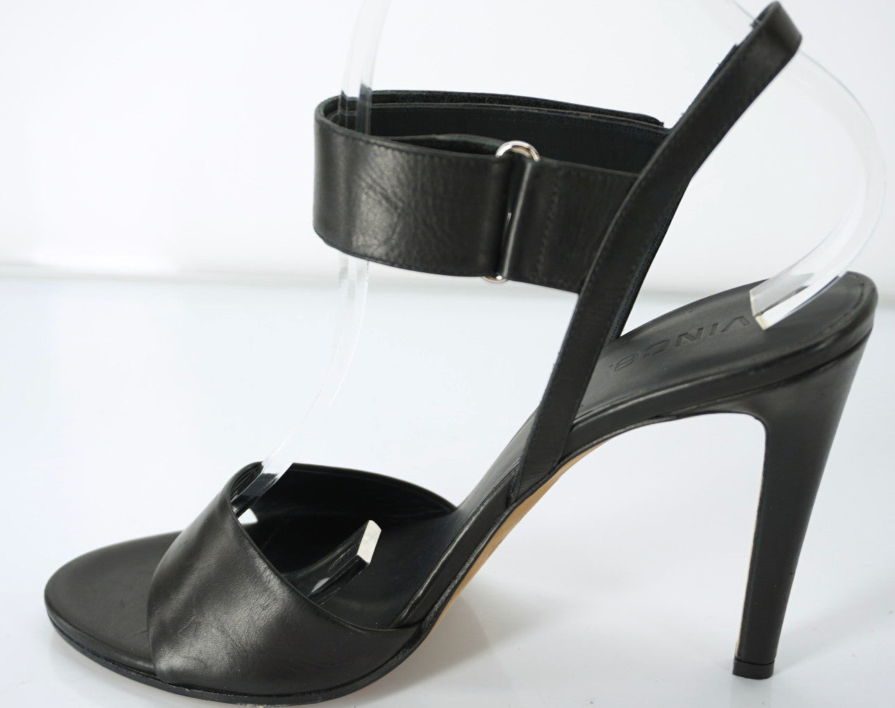 Vince Black Leather Genna Ankle Strap Heels Sandals Size 9 NIB Women's Peep Toe