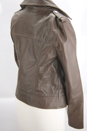 Trouve Brown Brown Leather Zip Biker Jacket Size Small $298 Women's NWT Moto Sz