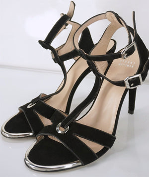Stuart Weitzman Black Suede 'Accent' Caged T Strappy sandals Size 10 $395