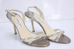 Jimmy Choo India Glitter Ankle Strap Slingback Sandals Size 38.5 high heels $550