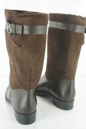 Tod's Brown Suede 'Gomma' Buckled Biker Boots Size 41 11 New $1095 womens