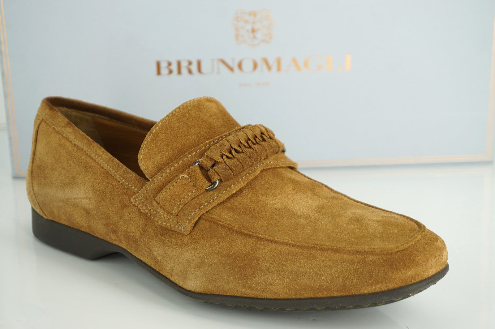 Bruno Magli Tobacco Brown Suede Lorenzo Strap Loafers Size 8.5 NIB $398 Men's