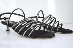 Chanel Black Leather Crystal Strappy Kitten Heel Sandals SZ 38 Logo NIB CC $1125