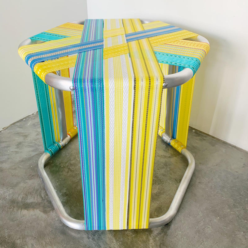 Vintage Inspired Stool Blue and Yellow