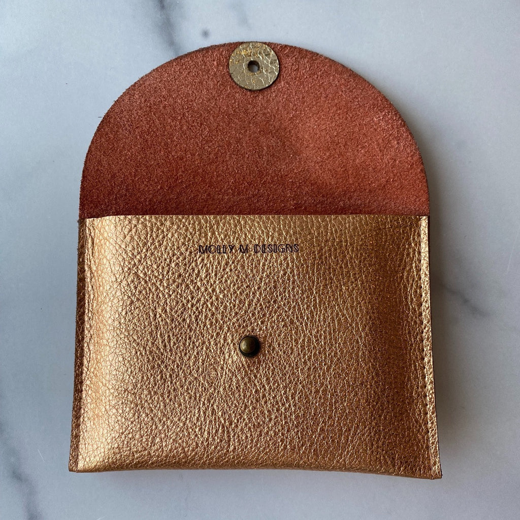 Copper Metallic Leather Pouch