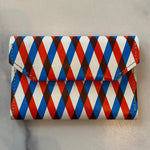 Red and Navy Stripe Card Case