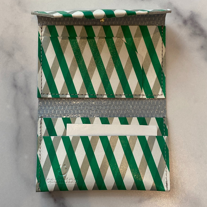 Green and Grey Striped Card Case