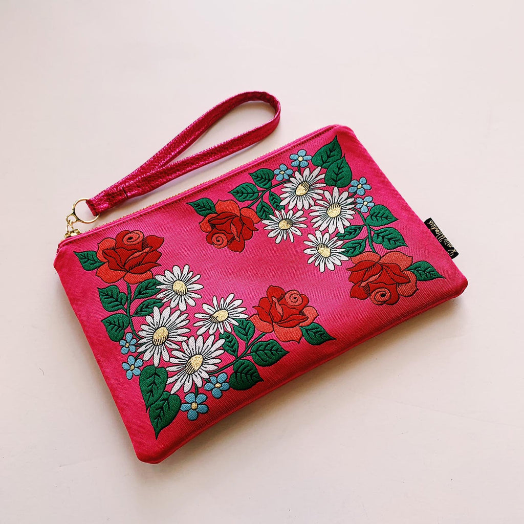 Pink Embroidered Wristlet