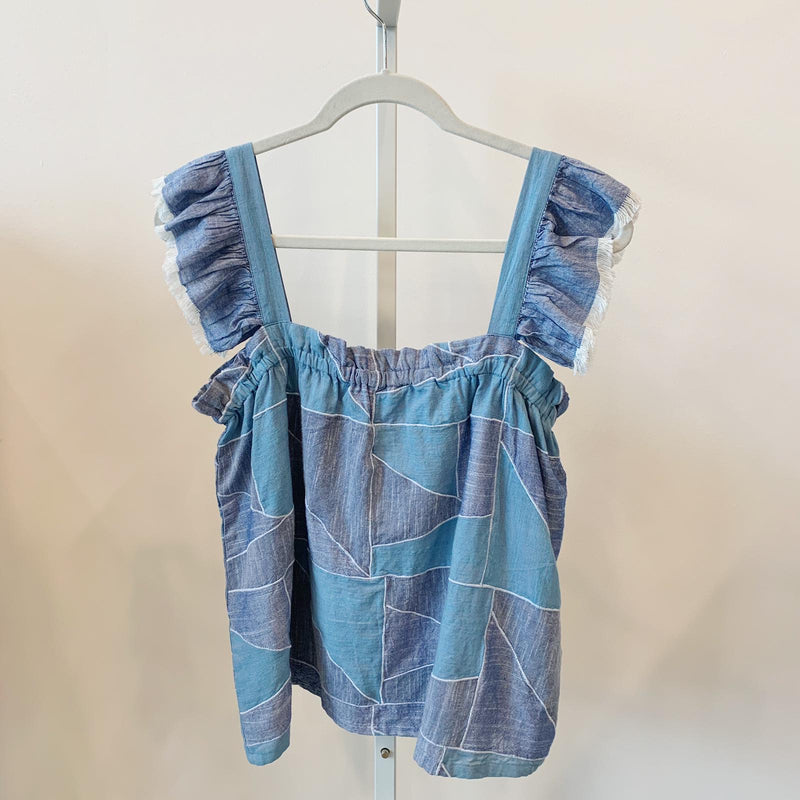 Denim Patchwork Ruffle Top