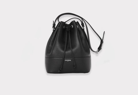 Fonfrege Eugénie bucket bag in Noir de Noir Black. Made in Italy. Available at Fonfrege.com