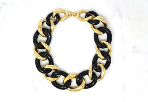 Oversized Chain Choker Designer: Givenchy Material: gold plated metal, plastic Period: 1980s. Available at Fonfrege.com