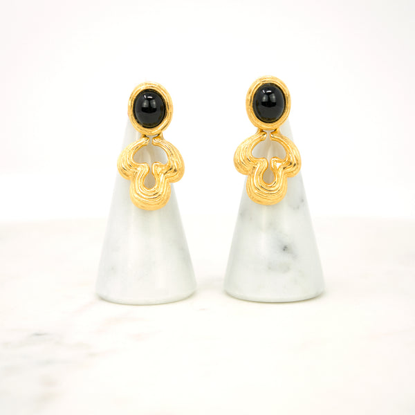 "Baroque ""Door Knocker"" Earrings  Designer: Givenchy  Material: gold plated metal, faux onyx cabochon  Period: 1980s. New old stock. Available at Fonfrege.com"