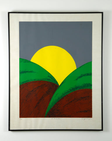 """El Amanecer""  Artist: Herbert Sigüenza Period: circa 1980 Medium: Silkscreen Herbert Sigüenza (b. 1959) was trained as a printmaker and artist. He attended the California College of Art and Crafts and later become the art director for La Raza Silkscreen Center (later known as La Raza Graphics.) Available at Fonfrege.com"