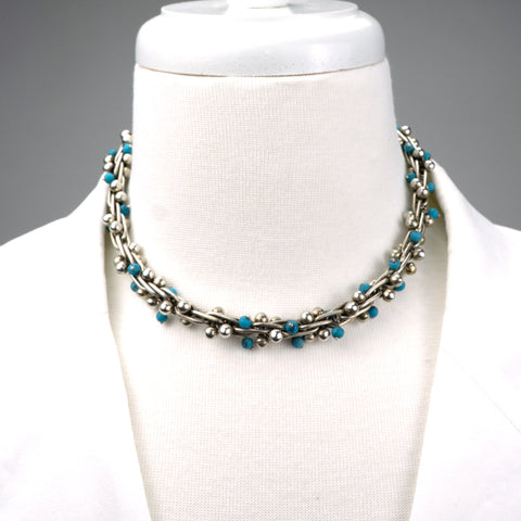Brutalist Choker  Designer: Unknown, possibly from Taxco  Period: 1950's  Material: sterling silver, turquoise. Available at Fonfrege.com